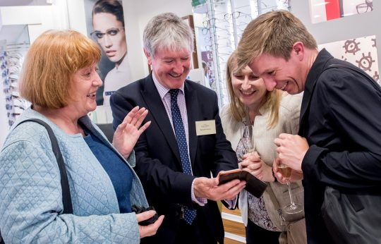 Contact Lens expert Damian Conway with some of our clients (image copyright Newsmakers PR)