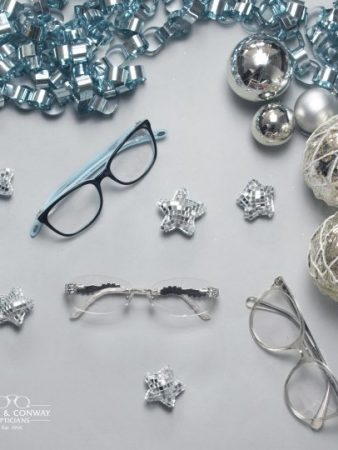 Festive glasses surrounded by decorations