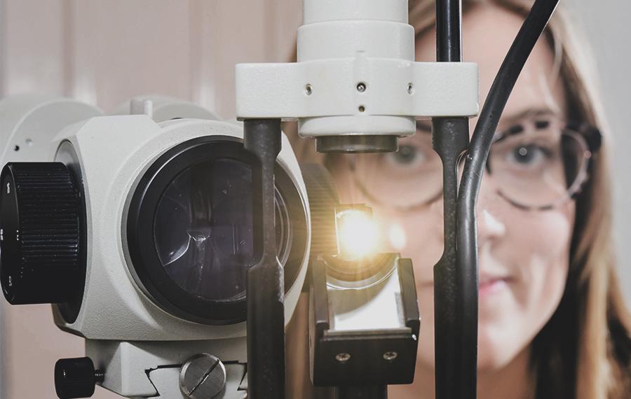 eye examination close up