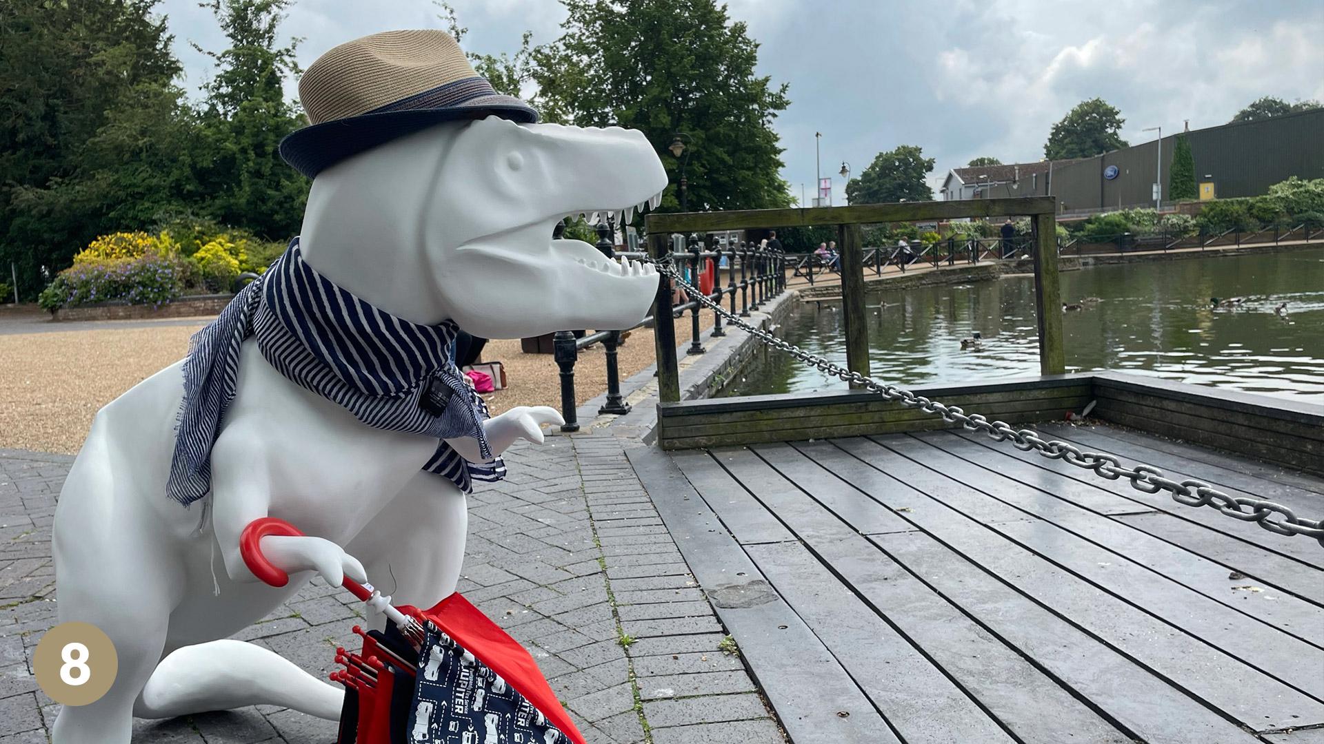 T-rex statue on decking